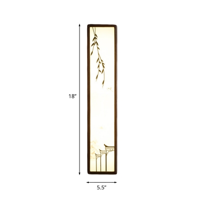 Asian Elongated Wood Wall Light Fixture LED Wall Mount Mural Lamp in Brown with Acrylic Shade