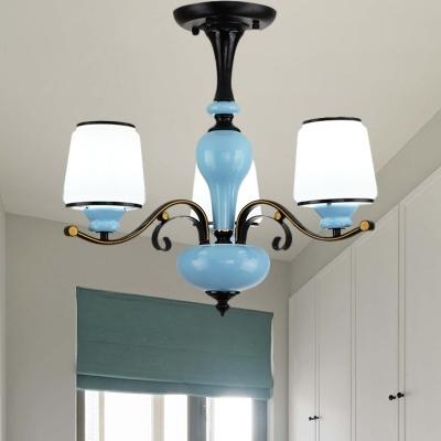 Barrel Drawing Room Pendulum Light Country Milk Glass 3/6/8 Bulbs Blue Ceramics Chandelier Lamp