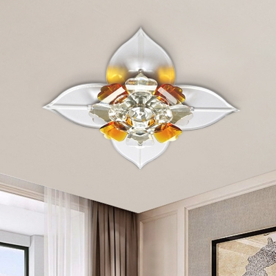 Contemporary Floral Flush Lamp Fixture Tan and Clear Crystal LED Hallway Ceiling Mounted Light