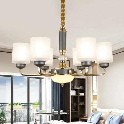 Frosted Glass Gray Blue Chandelier Light 1/2-Tier Cylinder 6/8/12 Heads Traditional Pendant Lamp