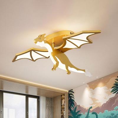 Gold Finish Pterosaur Shape Flushmount Cartoon LED Metal Semi Flush Mount for Boys Bedroom