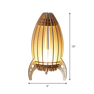 Hollowed Out Rocket Wood Table Light Kids Style Beige LED Night Stand Lamp for Bedside