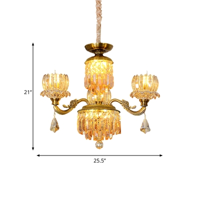 3 Bulbs Lotus Up Chandelier Traditional Brass Finish Crystal Prism Hanging Pendant Light for Dining Room