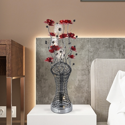 Aluminum Wire Floret and Vase Table Lamp Art Deco Living Room LED Nightstand Light in Red and Black, White/Warm Light