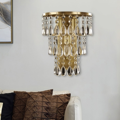Crystal Layers Wall Mounted Light Countryside 3 Bulbs Dining Room Flush Mount Wall Sconce in Brass