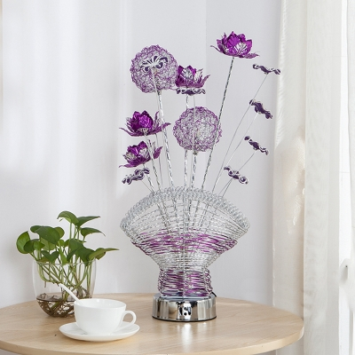LED Nightstand Light Art Deco Florals and Vase Metallic Wire Table Lamp in Red/Purple for Bedroom