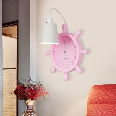 Mediterranean Cone Iron Wall Sconce Single-Bulb Wall Lamp with Rudder Clock Backplate in Pink/Blue