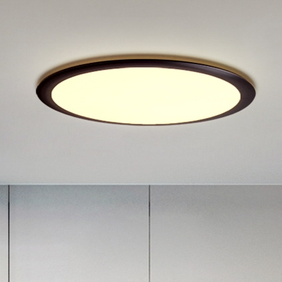 Simple Thinnest Round Flush Mount Acrylic Bedroom 16 5 20 5 24 5 Dia Led Surface Mounted Ceiling Light In Black Warm White Light Beautifulhalo Com