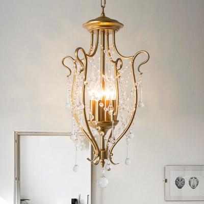 4 Lights Crystal Chandelier Pendant Rural Brass Jug Frame Kitchen Hanging Light Fixture