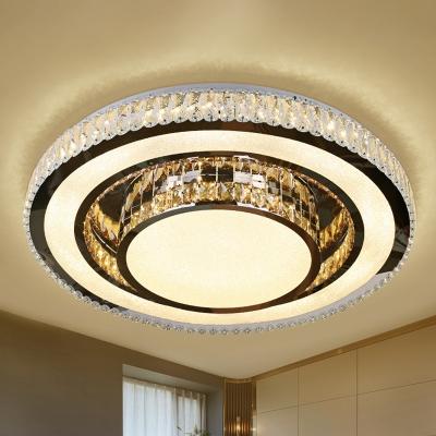 Crystal Nickel Finish Flush Light Round Modernist LED Close to Ceiling Lighting Fixture