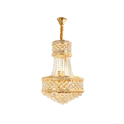 Gold Finish 7-Bulb Pendant Chandelier Traditional Beveled Clear Crystal 2 Layer Ceiling Suspension Light