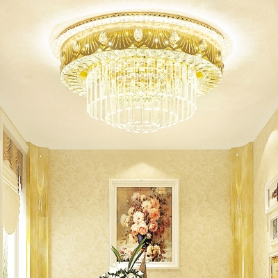 Layered Tapered Bedroom Ceiling Flush Contemporary Crystal LED Gold Flush Mount Light