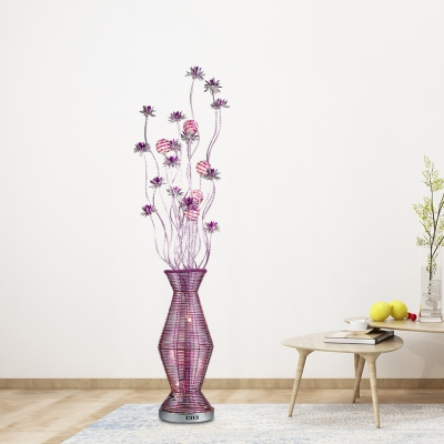 Purple Finish LED Standing Floor Light Country Style Aluminum Wire Vase and Floral Floor Lamp