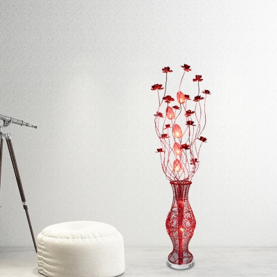 Red Lotus and Vase Floor Standing Light Art Deco Aluminum Wire Living Room LED Floor Lamp