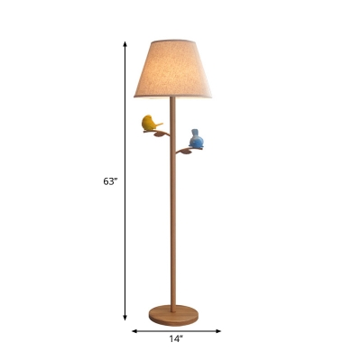 Single Fabric Standing Floor Light Farmhouse Wood Barrel Living Room Tree Floor Lamp with Bird Decor