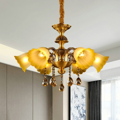 Brass 6 Heads Ceiling Chandelier Postmodern Amber Glass Drooping Bell Hanging Lamp