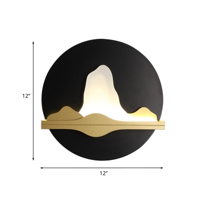 Chinese Mountain Patterned LED Mural Lamp Iron Living Room Flush Mount Wall Sconce in Black and Gold