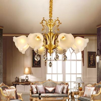 Flower Milk Frosted Glass Pendant Light Mid Century 6 Lights Living Room Chandelier Lamp in Gold