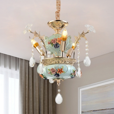 French Country Pottery Chandelier 3-Head Ceramic Hanging Lamp Kit in Blue with Dangling Crystal