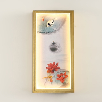 House/Lotus Painting Fabric Mural Light Chinese Gold LED Wall Sconce Lighting for Decoration