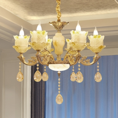 6-Bulb Candle Chandelier Light Fixture Traditional Brass Frosted Glass Suspension Lighting with Crystal Accent
