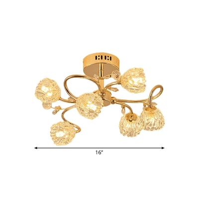 6-Light Porch Ceiling Flush Modernity Gold Semi Mount Lighting with Flower Crystal Shade