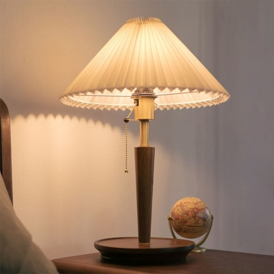 Dark Wood Single Nightstand Lamp Rustic Pleated Fabric Coolie Shade Table Light With Pull Chain Beautifulhalo Com