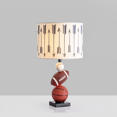 Drum Bedroom Desk Lighting Fabric Shade 1 Light Modern Night Table Lamp with Sport Ball Base in White