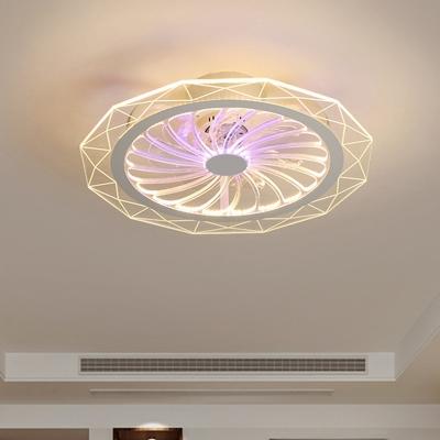Geometric Acrylic Hanging Fan Light Modernist LED Clear Semi Flush Mount for Bedroom, 20
