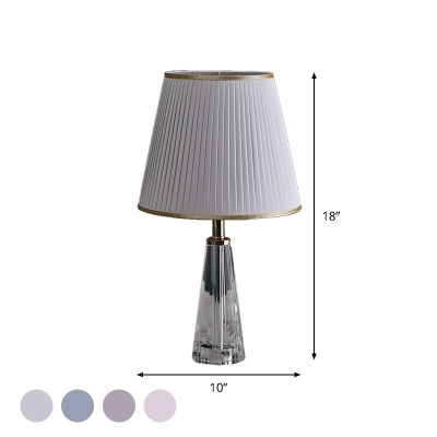 Modernism Barrel Shade Desk Lamp Pleated Fabric Single Living Room Table Light in Grey/Pink/Blue with Cone Crystal Base
