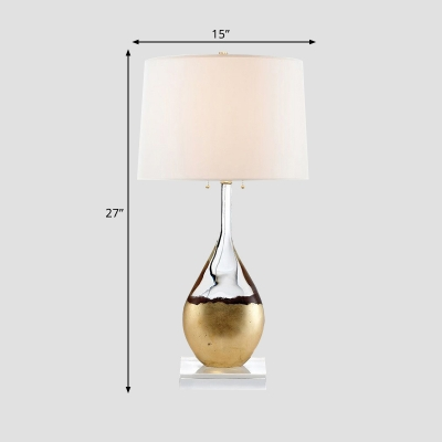 Teardrop Bedside Night Lamp Postmodern Crystal 1-Head Brass Table Light with Pull Chain and White Barrel Shade