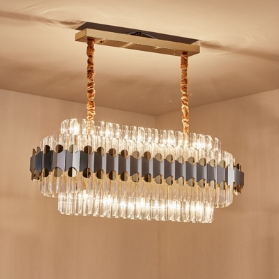 10-Head Fluted Crystal Hanging Pendant Modern Silver 2 Layers Oblong Dining Room Island Lighting