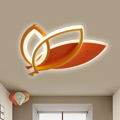 Black/Orange Leaf Ceiling Light Fixture Cartoon LED Acrylic Flush Mount Lighting for Bedroom