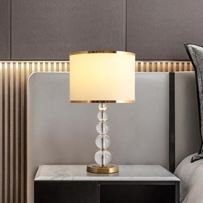 K9 Crystal Burgundy/Beige Night Lamp Globe 1 Head Nightstand Lighting with Cylinder Fabric Shade