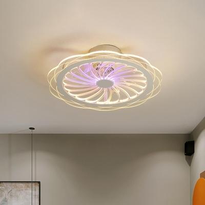 Kids Floral Ceiling Fan Lamp Metal LED Bedroom Semi-Flush Mount Light in Clear, 20