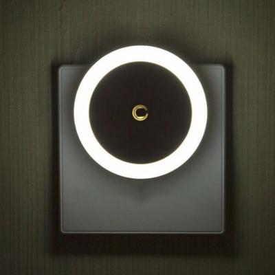Round Mini Plug-in Night Light Minimalist Plastic White LED Wall Lamp for Kids Room