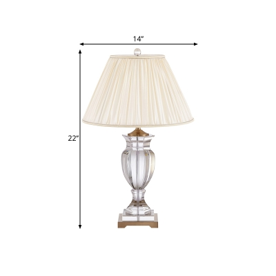Rustic Tapered Shade Night Table Light 1 Light Pleated Fabric Table Lamp in White with Crystal Urn Base
