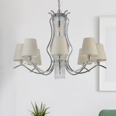 Traditional Cone Shade Chandelier 9 Lights Fabric Ceiling Pendant in White with Crystal Chain
