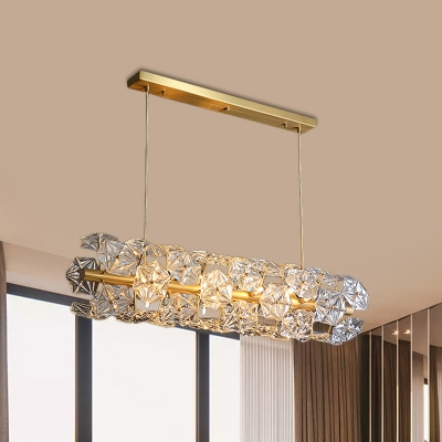 18-Light Kitchen Suspension Pendant Modern Brass Island Lighting Fixture with Hexagon Crystal Shade