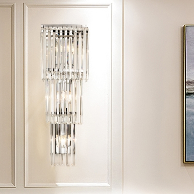 3 Lights Flush Wall Sconce Modern 3-Layered Cylinder Clear Crystal Wall Lighting Ideas