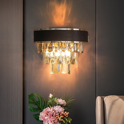 Black and Gold 3 Layers Wall Lamp Contemporary 3-Bulb Crystal Block Sconce Light Fixture