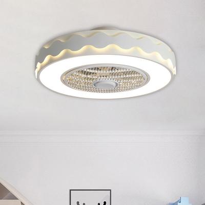 Circle Metal Ceiling Fan Light Macaron White/Black/Pink LED Semi Flush Mount Lamp for Bedroom, 23