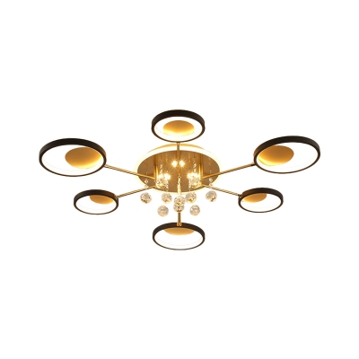 Metal Circle Semi Mount Lighting Simplicity 6/8 Lights Black Close to Ceiling Light with Crystal Droplet