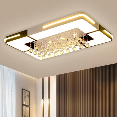 Rectangle Acrylic LED Ceiling Light Fixture Modern Black and White Flush Mount Lighting with Crystal Ball Deco