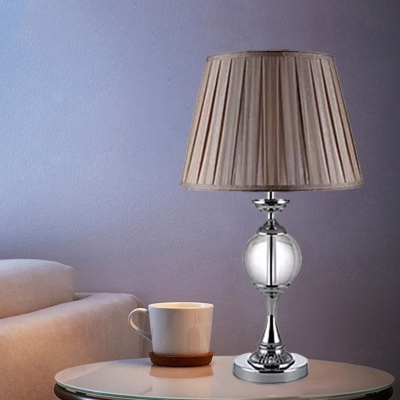 1-Head Pleated Shade Night Table Light Classic Beige Fabric Table Lamp with Crystal Ball Deco