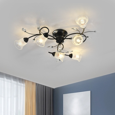 Bell Faceted Crystal Semi Mount Lighting Simple Style 6-Light Gold/Black Ceiling Light Fixture with Swirled Arm