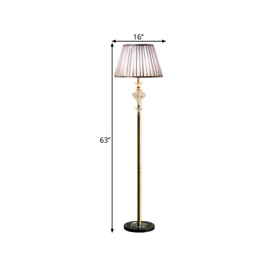 Cone Fabric Standing Lighting Countryside 1 Light Living Room Crystal Floor Lamp in Purple
