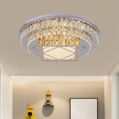 Crystal Block Flower/Square Flush Light Modern Stainless-Steel LED Close to Ceiling Lighting Fixture