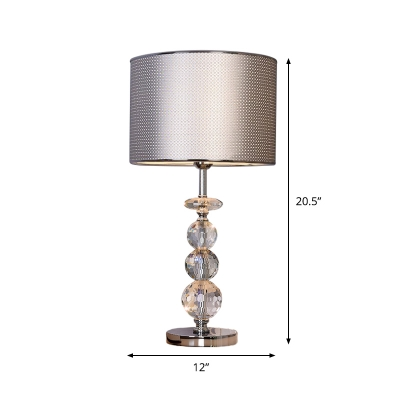Drum Fabric Shade Nightstand Light Modernist 1 Bulb Black/Silver/Gold Finish Table Lamp with Crystal Stand