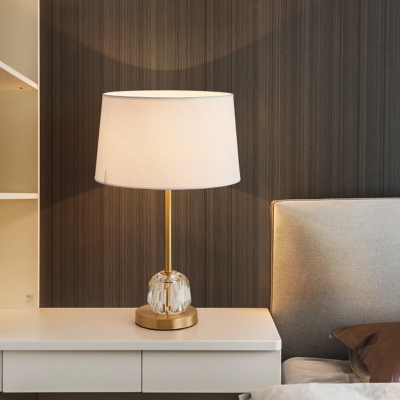Fabric Drum Night Table Light Postmodern 1 Head Bedside Nightstand Lamp in Beige with Crystal Ball Decor